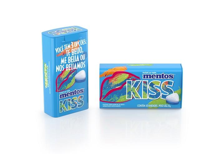 Tin 50pz Mentos Kiss Menta 3 Brazil